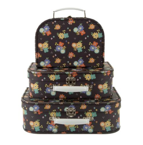 set of 3 dahlia floral hard suitcase