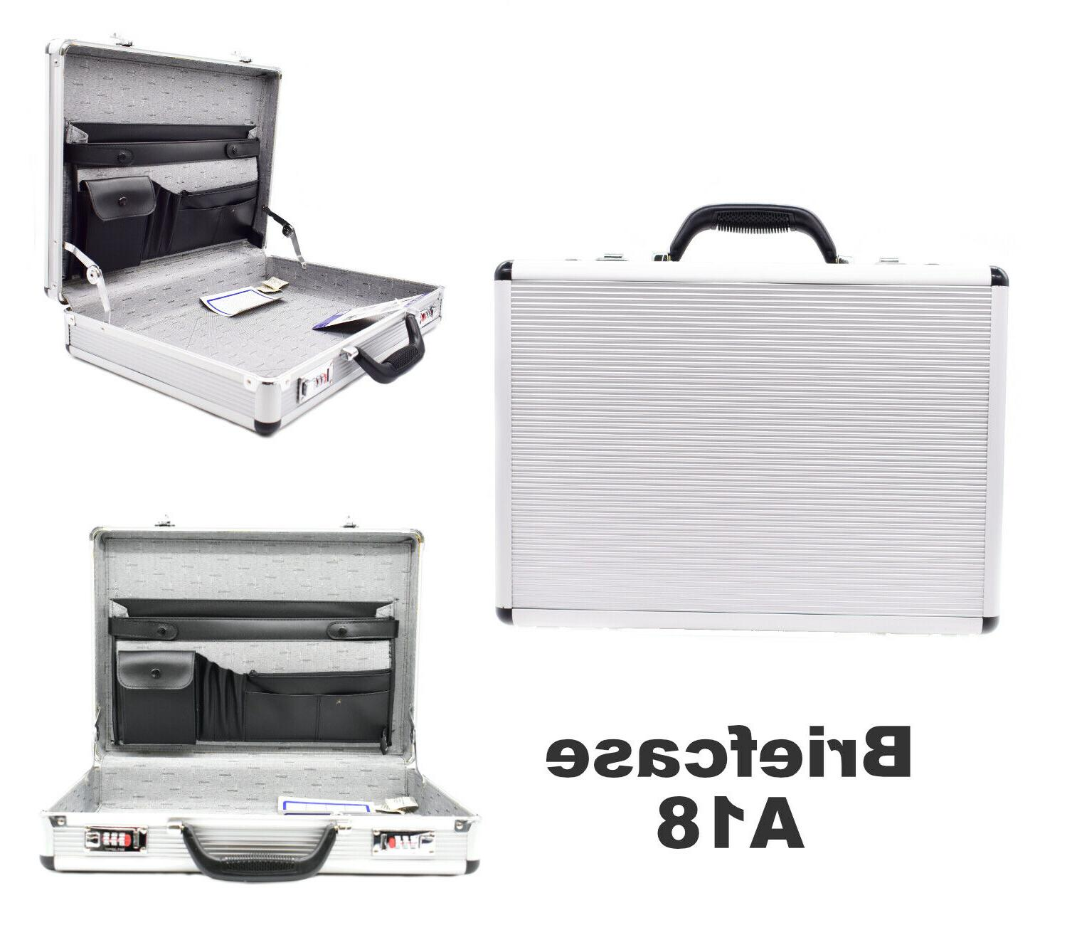 silver aluminum briefcase mens file business hard