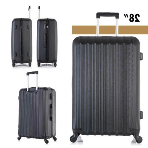 """Travel Luggage Set 4PCS Trolley Spinner Suitcase 16""""20""""24""""28"""" ABS"""