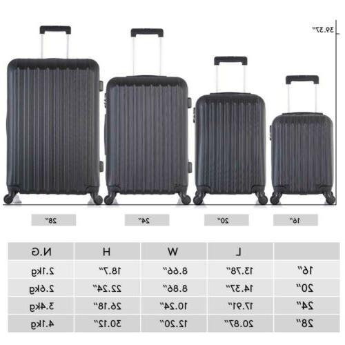 "Travel Set 4PCS Trolley Suitcase w/Lock 16""20""24""28"" ABS Black"