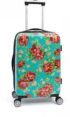 Vintage Floral Carry-on Suitcase 4 Double Wheels Hard Side W