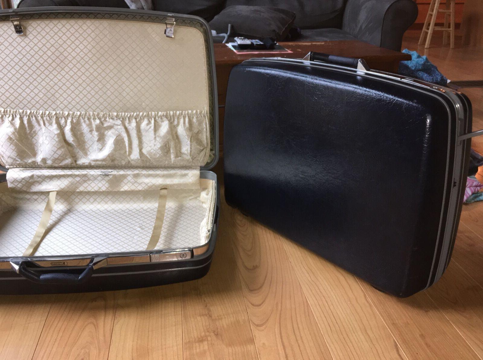 vintage luggage 2 dark blue hard cased
