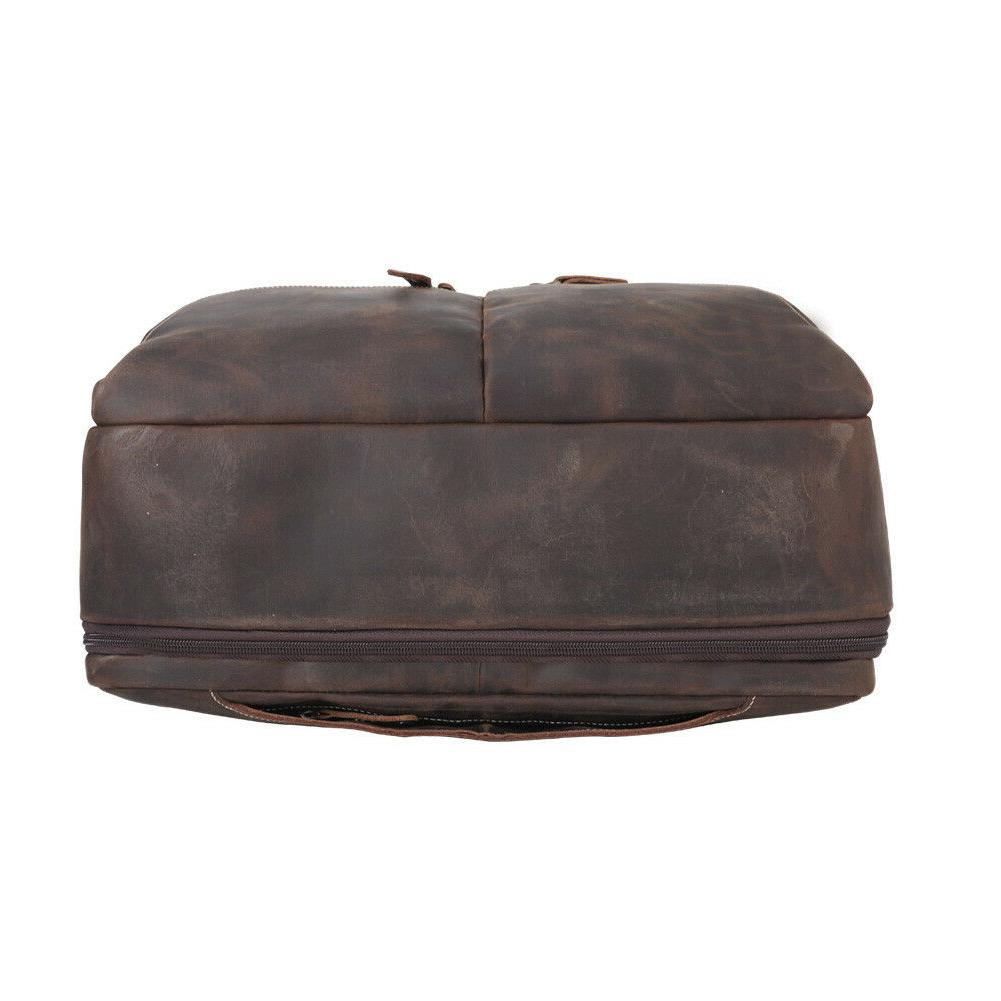 "Vintage Leather Briefcase 16"" Laptop Travel"