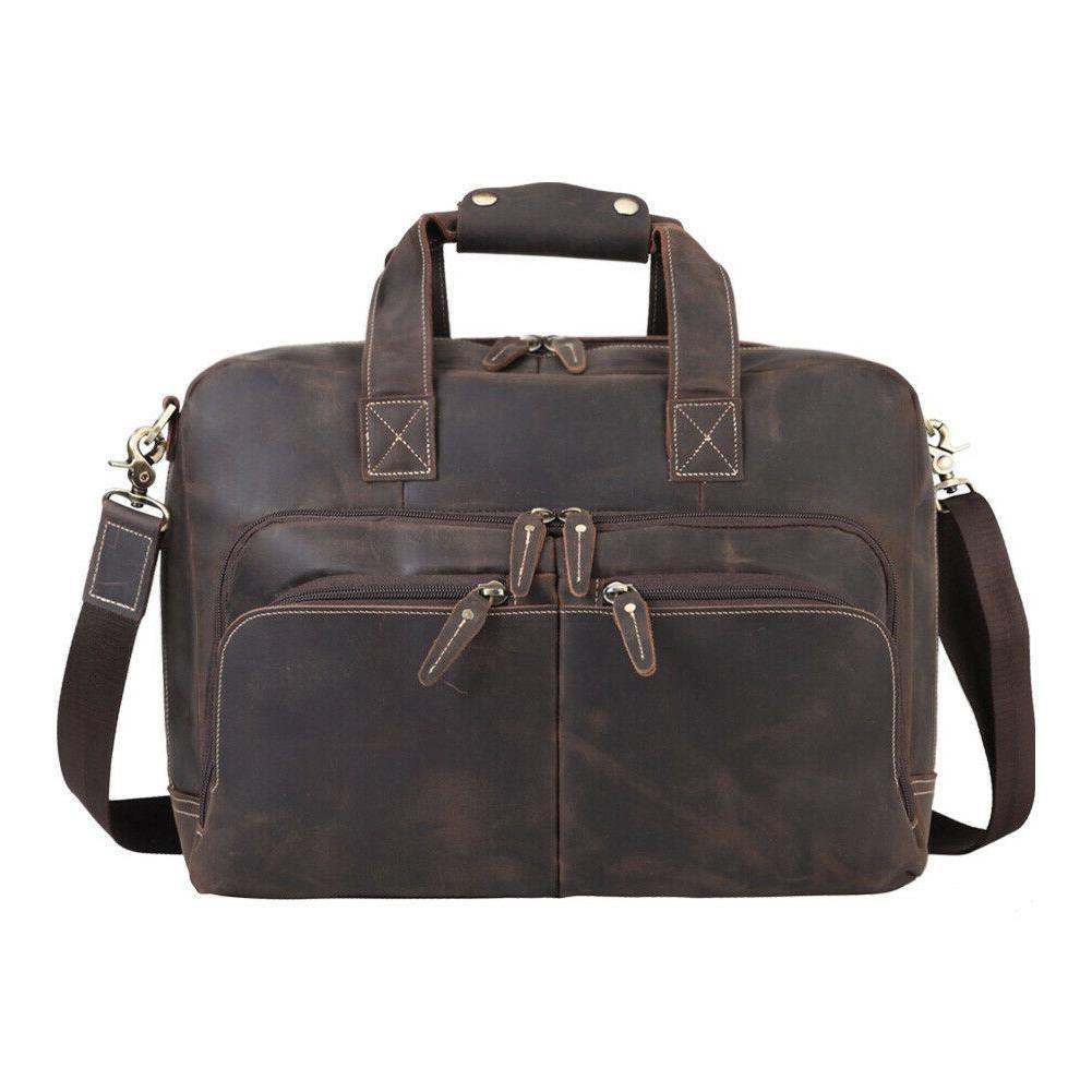 vintage men leather briefcase 16 laptop shoulder