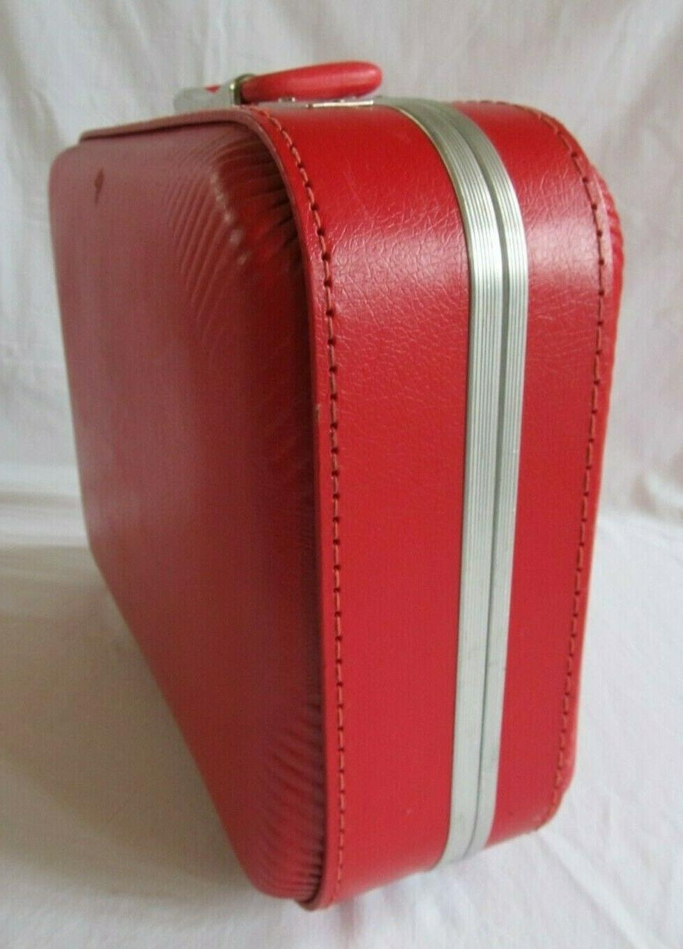 Vintage Small Red Suitcase Shell Kids Overnight Bag Key