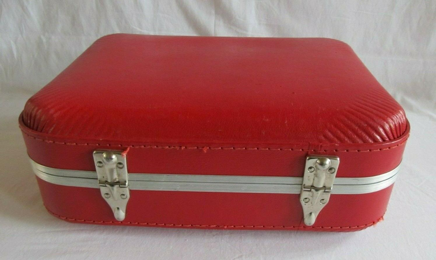 Vintage Small Child Red Suitcase Luggage Shell Key