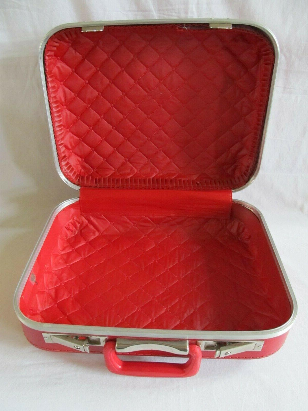 Vintage Small Child Size Red Luggage Hard Shell Kids Overnight Key