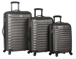 Lucas Luggage ABS Large Hard Case 3 Piece Rolling Suitcase W