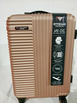 "Travelers Club Luggage Basette 20"" Rose Gold Luggage Suitcas"