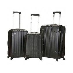 LUGGAGE SET 3 PIECE BLACK EXPANDABLE SPINNER HARDSHELL UPRIG