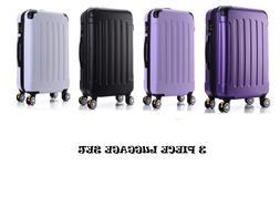 Luggage Set 3 Piece Multi-Color Suitcase Hard Bodied