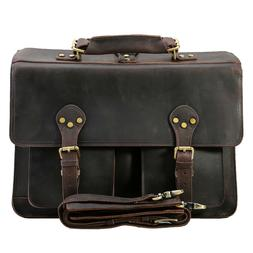 "Men Leather Backpack 16"" Laptop Briefcase Shoulder Bag Handb"