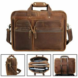 "Men Vintage Leather Travel Messenger Bag for 17"" Laptop Brie"