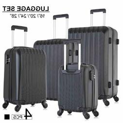 "16"" 20"" 24"" 28"" Luggage Set 4 Piece ABS Spinner Lightweight"
