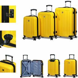 New Dejuno 3 Piece Polycarbonate Hard Shell Spinner Suitcase