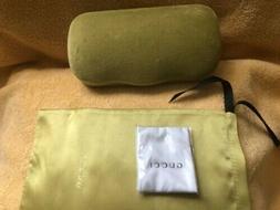 New GUCCI Lime Green Velvet Medium Sunglasses Hard Case w/Cl