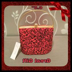 New Red & Black Floral Hard Shell Evening Bag Purse
