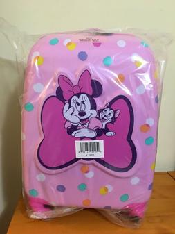 """New Disney Store Minnie Mouse Figaro Dots Pink 16"""" Hard Carr"""
