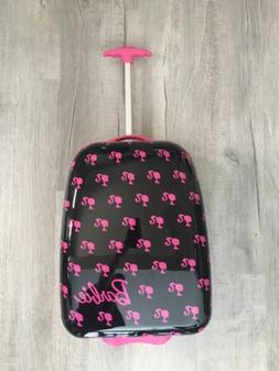 NWOT Barbie Black Pink Hard Suitcase Rolling REAL Luggage