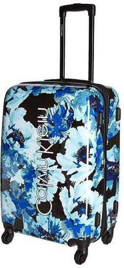"NWT Calvin Klein 25.5"" Tall  Hard Shell Floral Blue Spinner"