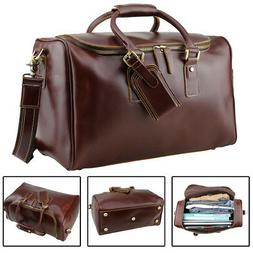 Real Leather Outdoor Luggage Suitcases For Men Travel Duffle