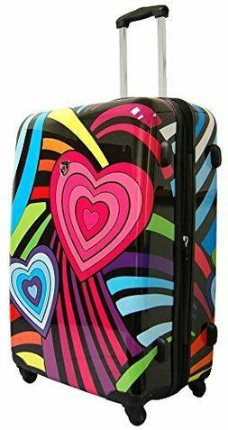 Suit Case Heys USA Novus Art Hearts Rainbow Hard Shell Spinn