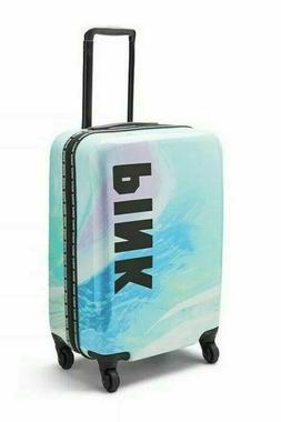 Victoria's Secret PINK Blue Marble Wheelie Hard Case Handle