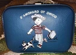 Vintage Boy's Blue Going To Grandma's Trojan Hard Luggag