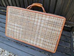 Hartmann vintage rare tan brown plaid tweed luggage hard sid