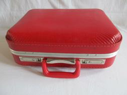 vintage small child size red suitcase luggage